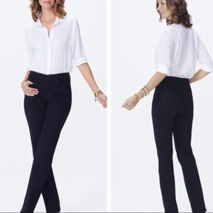 Nydj Marilyn straight black jeans comfort lift tuc